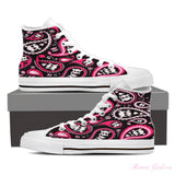 Women's High Top Canvas Shoe (Black) - Bad Ass Girl