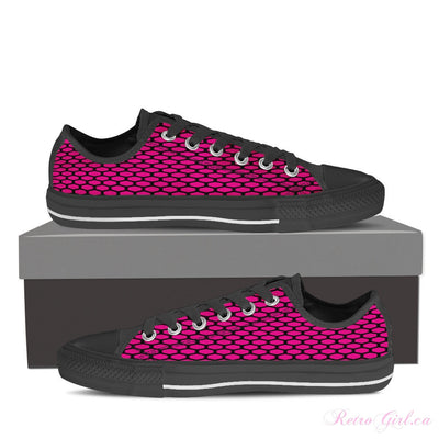 Women's Low Top Canvas Shoe (Black) - Pink Dots