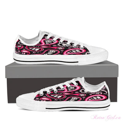 Women's Low Top Canvas Shoe (White) - Bad Ass Girl