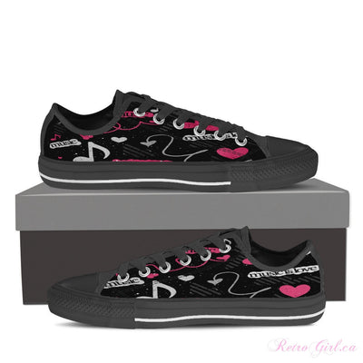 Women's Low Top Canvas Shoe (Black) - Pink Music