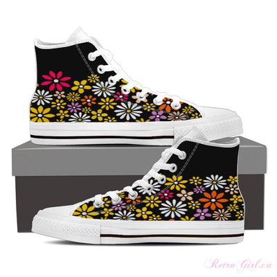 Women's High Top Canvas Shoe (White) - Pink Flower II