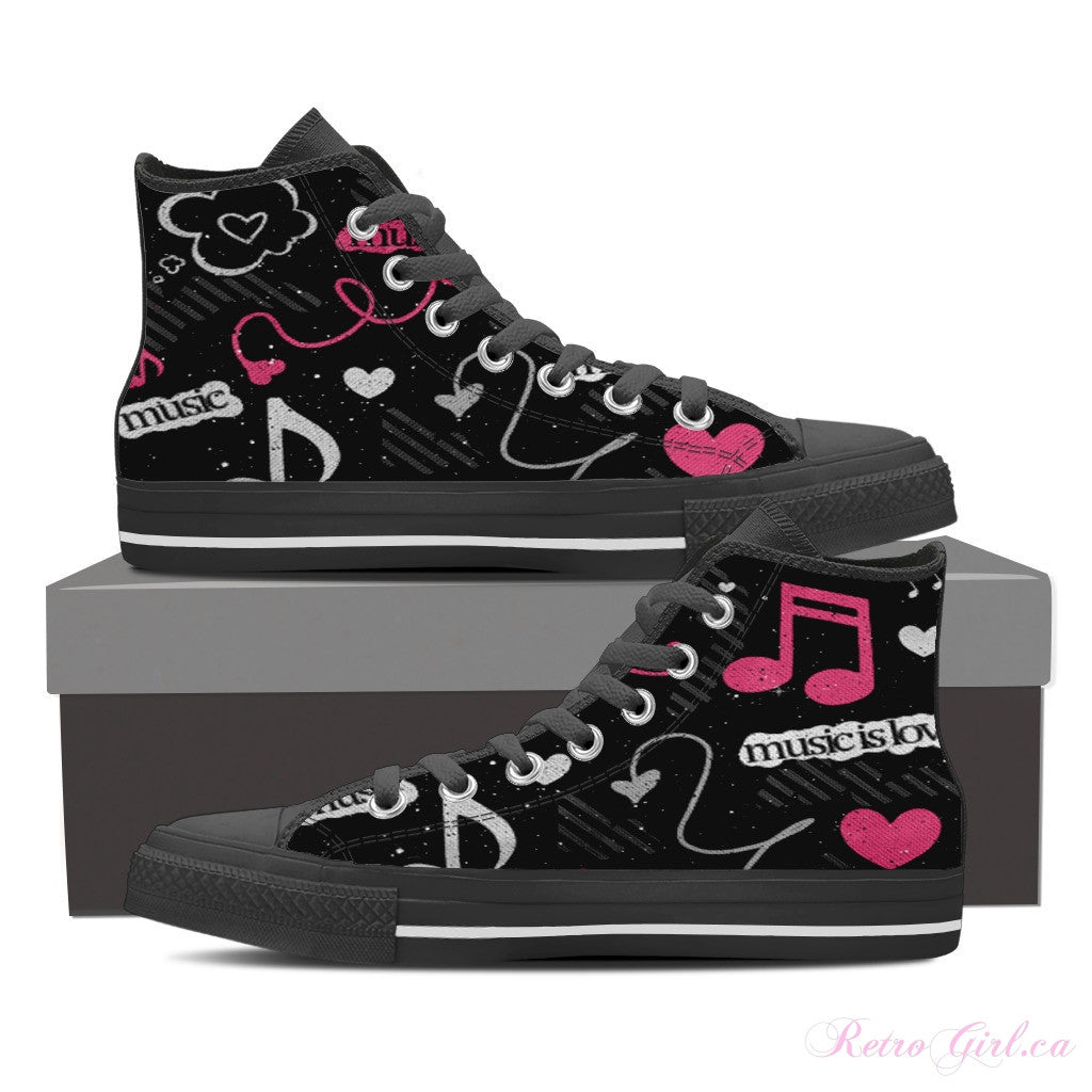 Women's High Top Canvas Shoe (Black) -  Pink Music