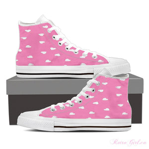Women's High Top Canvas Shoe (White) - Pink Hearts