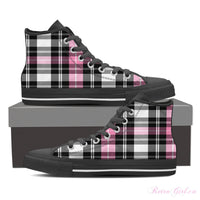 Women's High Top Canvas Shoe (Black) - Pink Plaid II