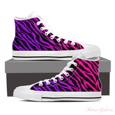 Women's High Top Canvas Shoe (White) - Pink Zebra