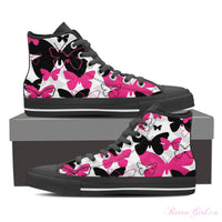 Women's High Top Canvas Shoe (Black) - Butterfly
