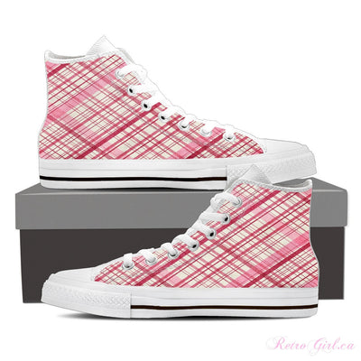 Women's High Top Canvas Shoe (White) - Pink Lace
