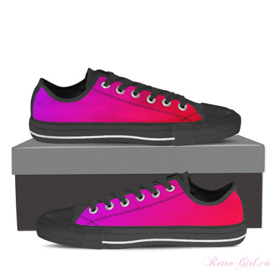 Women's Low Top Canvas Shoe (Black) - Pink/Purple