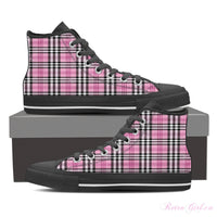 Women's High Top Canvas Shoe (Black) - Pink Plaid