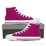 Women's High Top Canvas Shoe (White) - Pink Dots
