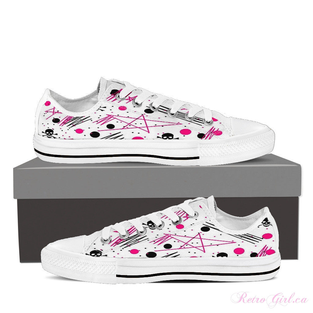 Women's Low Top Canvas Shoe (White) - Artsy Girl