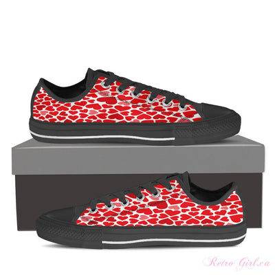 Women's Low Top Canvas Shoe (Black) - Hearts