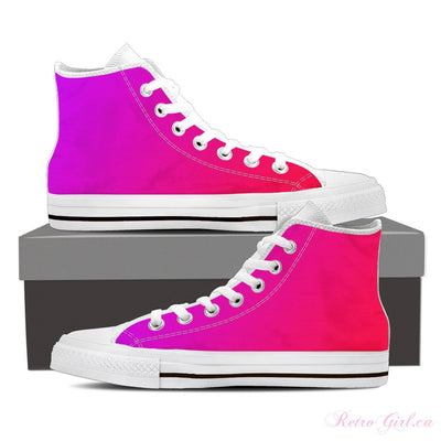Women's High Top Canvas Shoe (White) - Pink/Purple