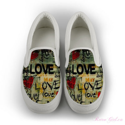 Womens Slip-on Canvas Shoe (White) - Retro love