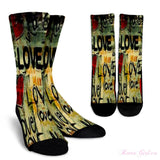Girls Fun Socks - Retro love