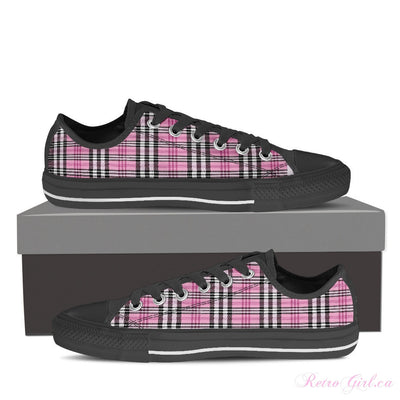 Women's Low Top Canvas Shoe (Black) - Pink Plaid