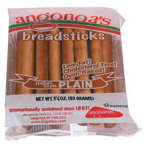 Angonoa's Plain Breadsticks - Case Of 12 - 3.25 Oz