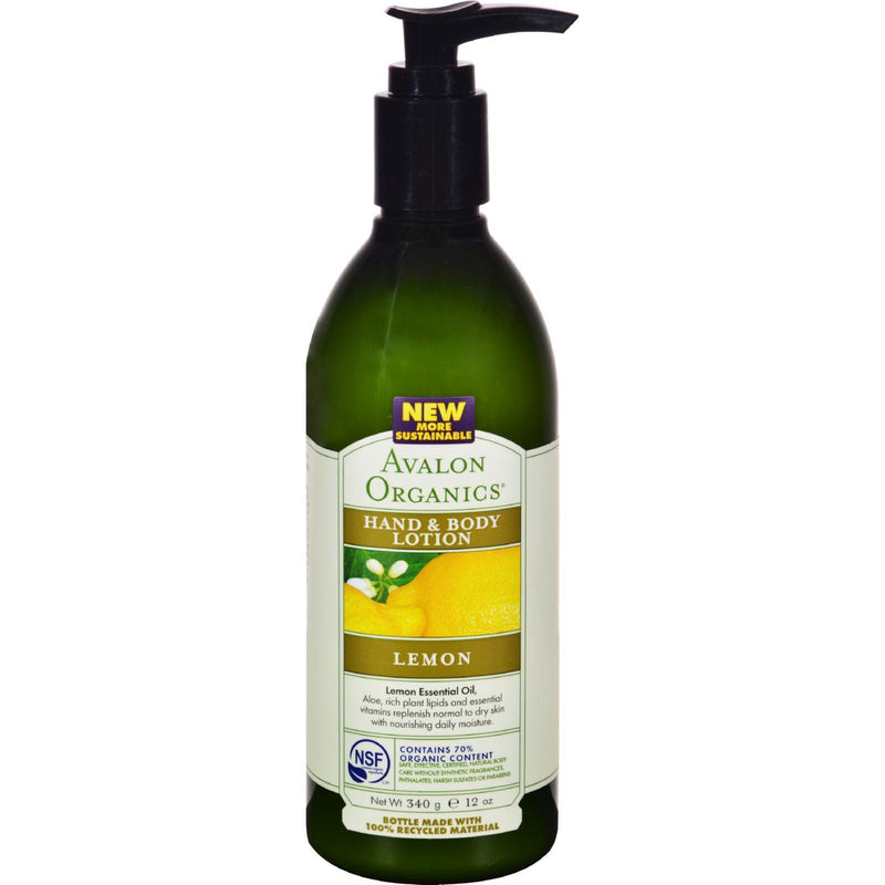 Avalon Organics Hand And Body Lotion Lemon - 12 Fl Oz