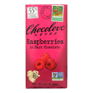 Chocolove Xoxox Premium Chocolate Bar - Dark Chocolate - Raspberries - 3.1 Oz Bars - Case Of 12