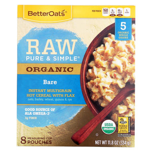 Better Oats Organic Instant Multigrain Hot Cereal - Bare - Case Of 6 - 11.8 Oz.