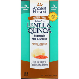 Ancient Harvest Mac And Cheese - Supergrain - Lentil And Quinoa - White Cheddar With Shells - Gluten Free - 6.5 Oz - Case Of 6