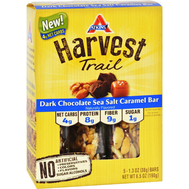 Atkins Harvest Trail Bar - Dark Chocolate Sea Salt Caramel - 1.3 Oz - 5 Count