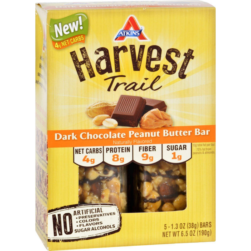 Atkins Harvest Trail Bar - Dark Chocolate Peanut Butter - 1.3 Oz - 5 Count