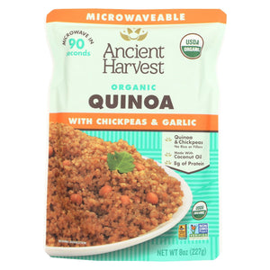 Ancient Harvest Organic Quinoa - With Chickpeas & Garlic - Case Of 12 - 8 Oz