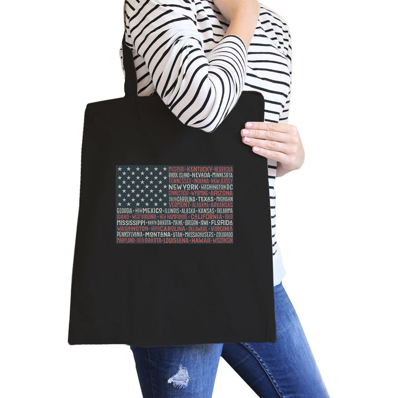 50 States Us Flag Black Washable Canvas Bags 4th Of July Gift Ideas