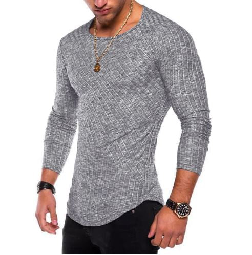 High Quaity Spring Men Long Sleeve T Shirt Casual Round Neck
