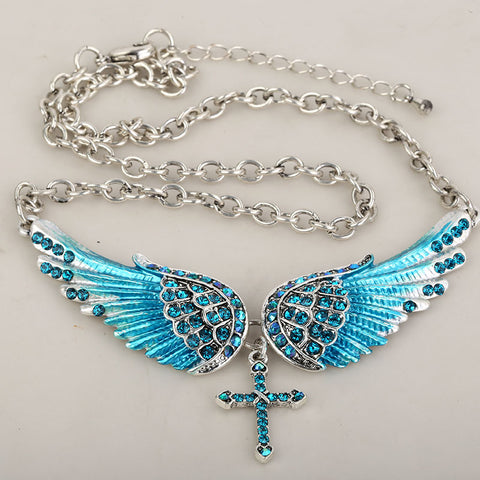 Angel Wings Cross Choker Necklace