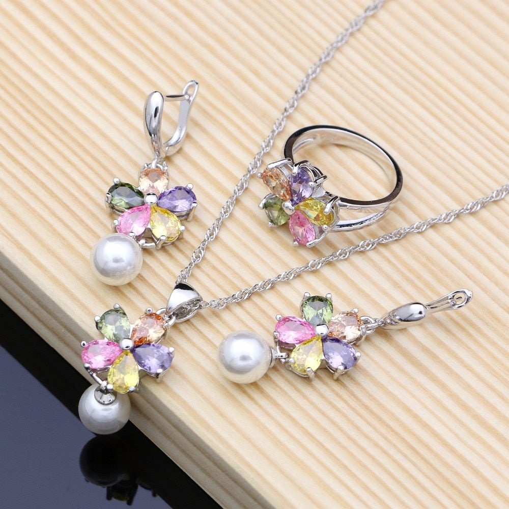 Zircon White Pearls 925 Silver Jewelry Sets