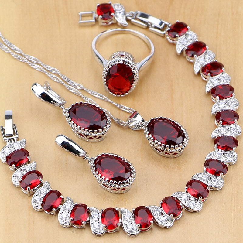 Red Birthstone Charm Jewelry Sets
