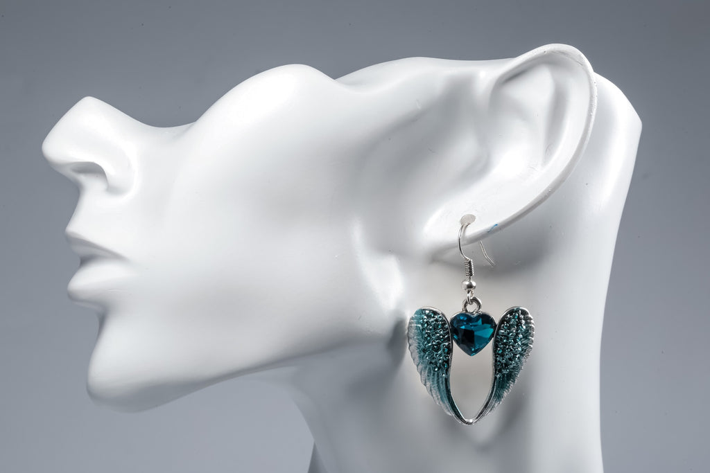 Wings Heart Dangle Drop Earrings