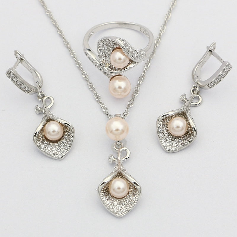 Pink Pearl 925 Silver Bridal Jewelry Sets
