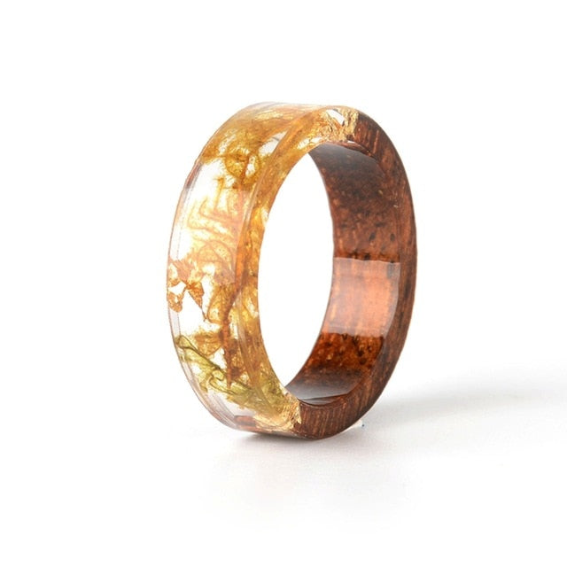 Epoxy Handmade Dried Flower Wood Resin Ring