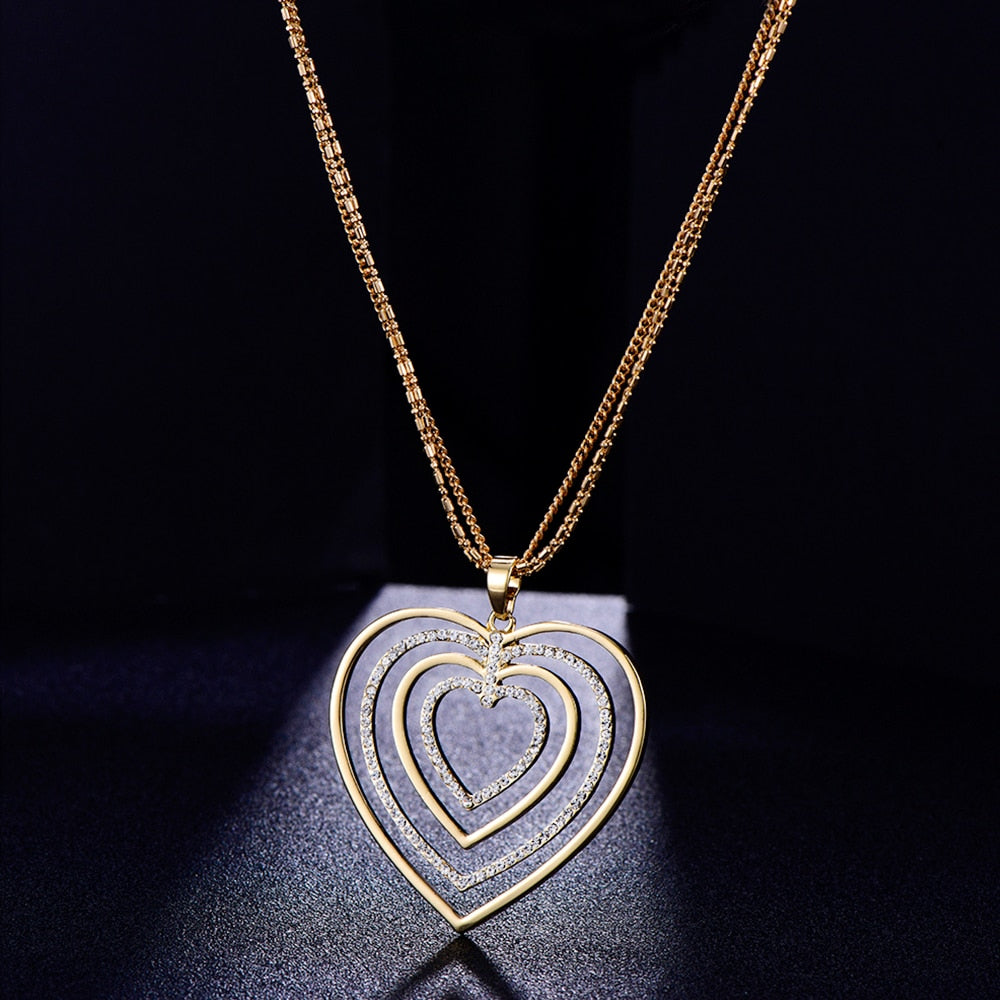 Hollow Crystal Heart  Pendant Necklace