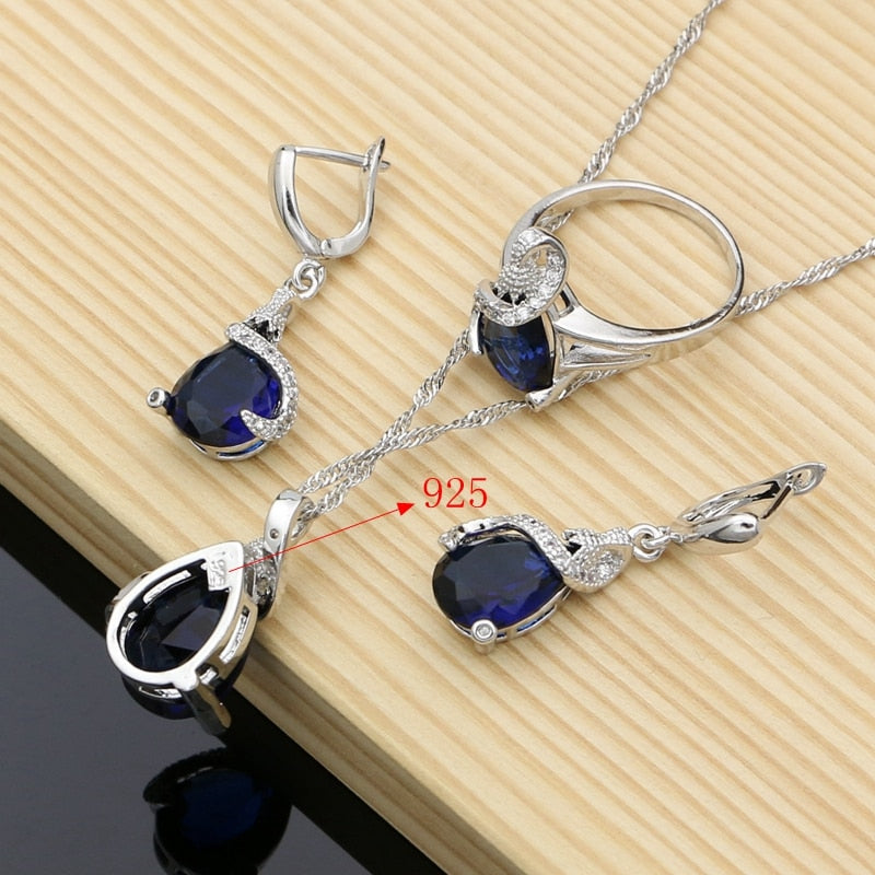 Silver 925 Jewelry Sets Blue Natural Zircon