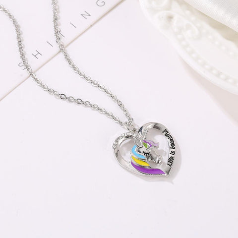 Silver Unicorn Necklace Colorful Horse