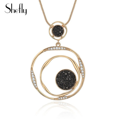 Luxury Black Crystal Pendant Necklace