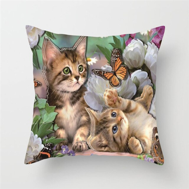 Cute Cat Cushion Cover Butterfly Pillow