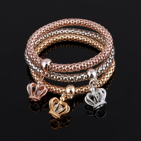 3 Pcs/Set Crystal Owl Heart Charm Bracelets