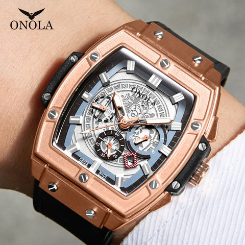 Luxury Sport watch for men ONOLA Fashion quartz clock big face wristwatch