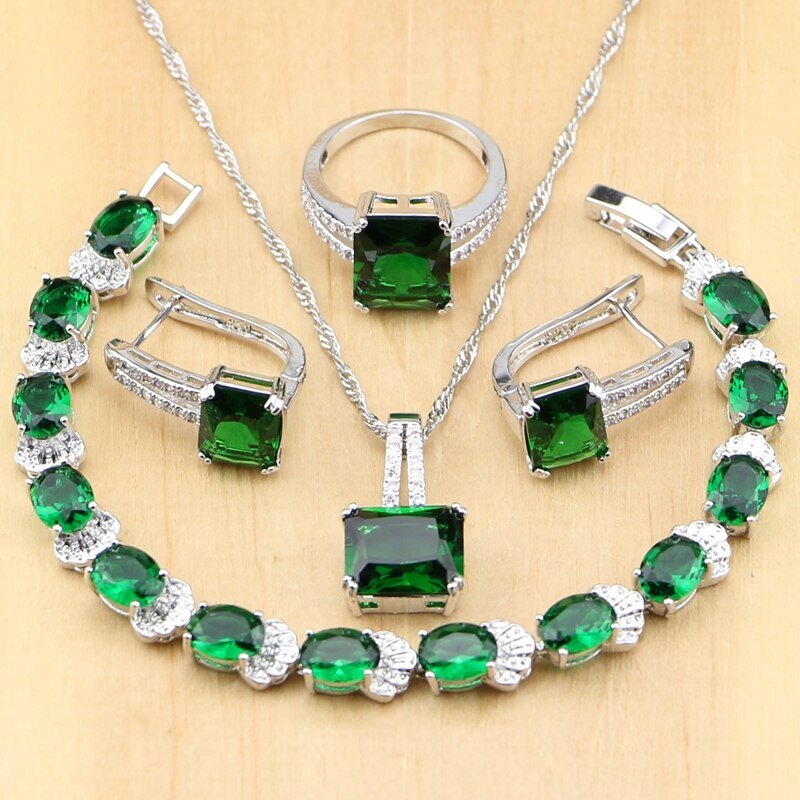 Handmade 925 Silver Jewelry Green Zircon Set