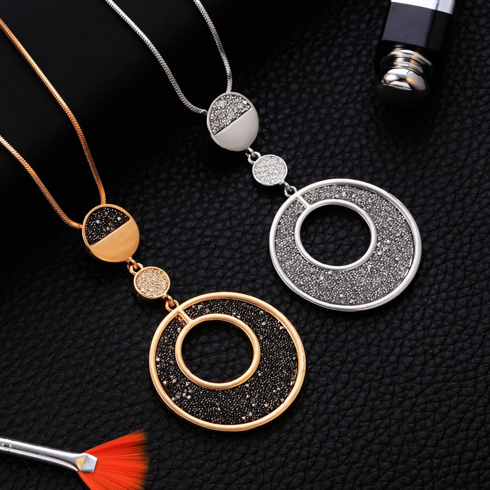 Circles Black Crystal Pendant Necklace