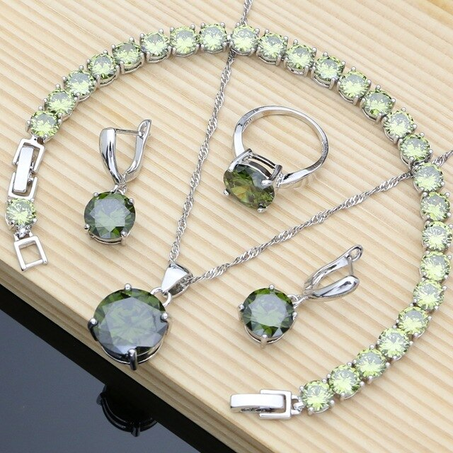 Silver 925 Earrings Necklace Set