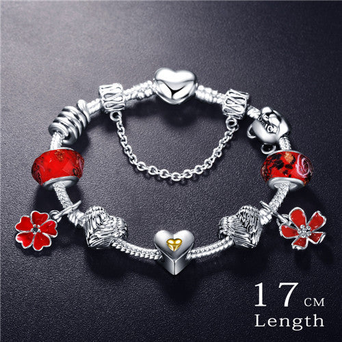 ONLY PAID SHIPPING - 925 Silver  Love and Flower Charm Pandora Bracelet