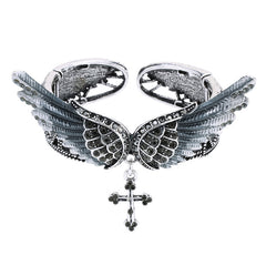Wings Cross Stretch Bracelet Bangle for Women Girls Biker Jewelry