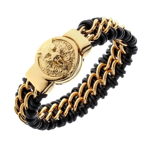 Mens Black Leather Stainless Steel Gold Bracelet