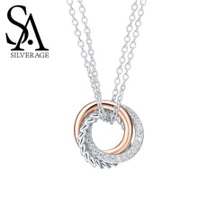 925 Sterling Silver Long Necklaces Pendants Rose Gold Color Fine Jewelry Love 925 Silver Maxi Pendant Necklace